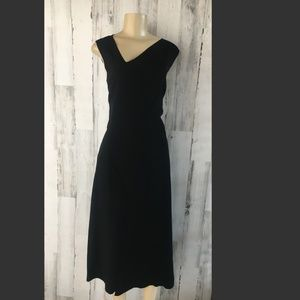 ELIE TAHARI Annika Black Asymmetric Midi Dress